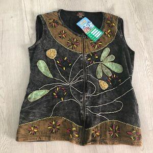 NWT Rising International Zip Patchwork Vest XL